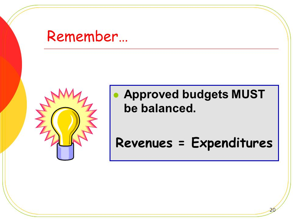 20 Remember… Approved budgets MUST be balanced. Revenues = Expenditures