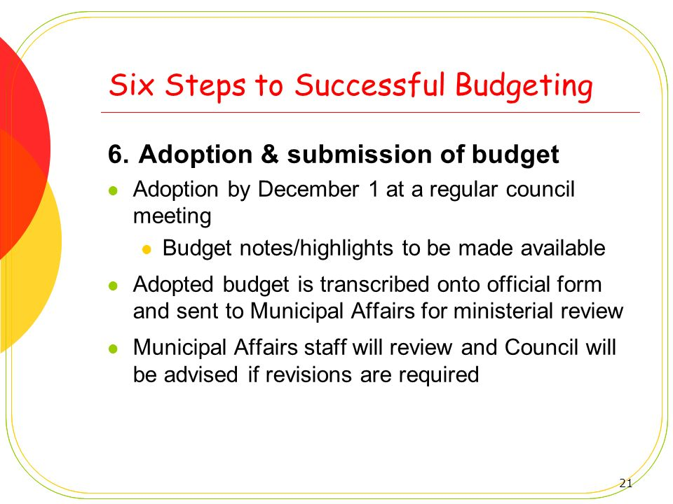 21 Six Steps to Successful Budgeting 6. Adoption & submission of budget Adoption by December 1 at a regular council meeting Budget notes/highlights to
