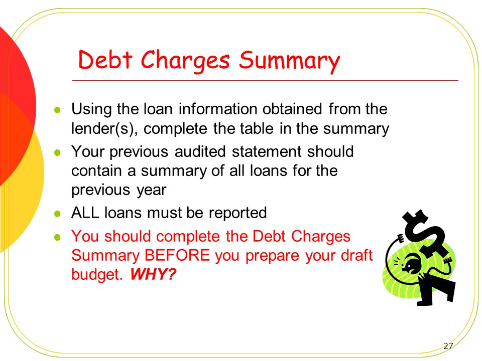 27 Debt Charges Summary Using the loan information obtained from the lender(s), complete the table in the summary Your previous audited statement shou
