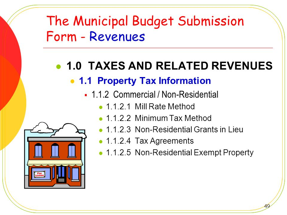 49 The Municipal Budget Submission Form - Revenues 1.0 TAXES AND RELATED REVENUES 1.1 Property Tax Information 1.1.2 Commercial / Non-Residential 1.1.