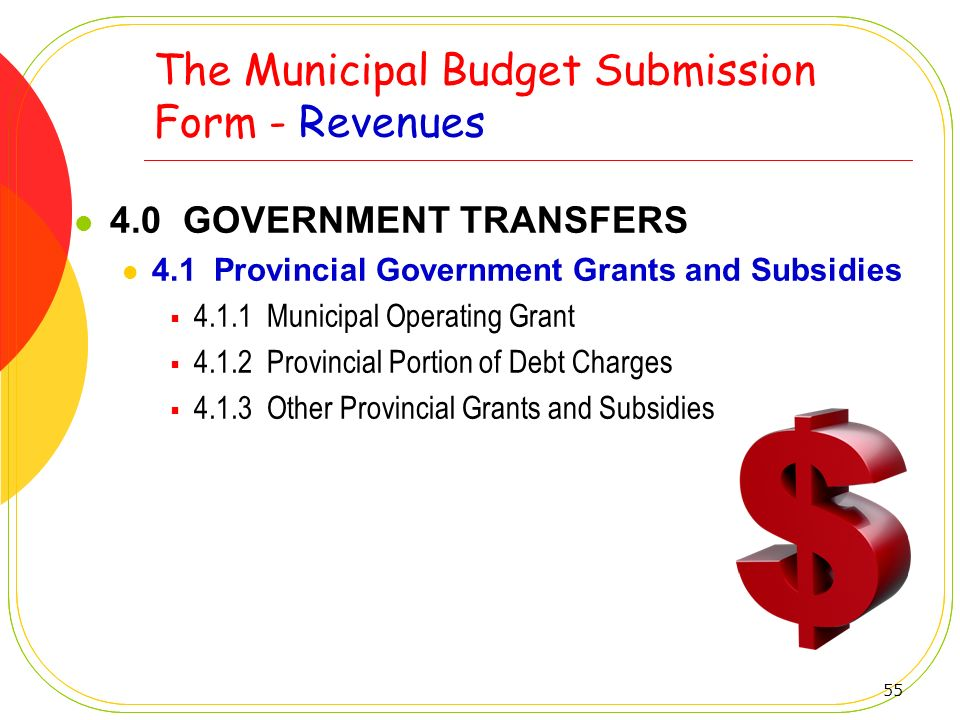 55 The Municipal Budget Submission Form - Revenues 4.0 GOVERNMENT TRANSFERS 4.1 Provincial Government Grants and Subsidies 4.1.1 Municipal Operating G