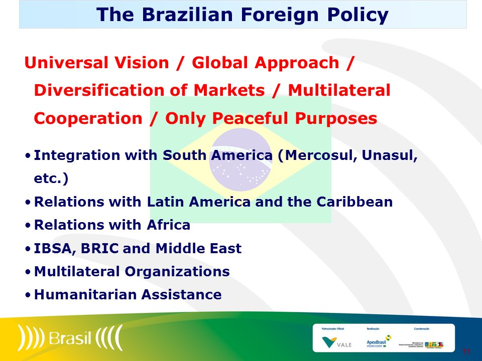 Universal Vision / Global Approach / Diversification of Markets / Multilateral Cooperation / Only Peaceful Purposes Integration with South America (Me