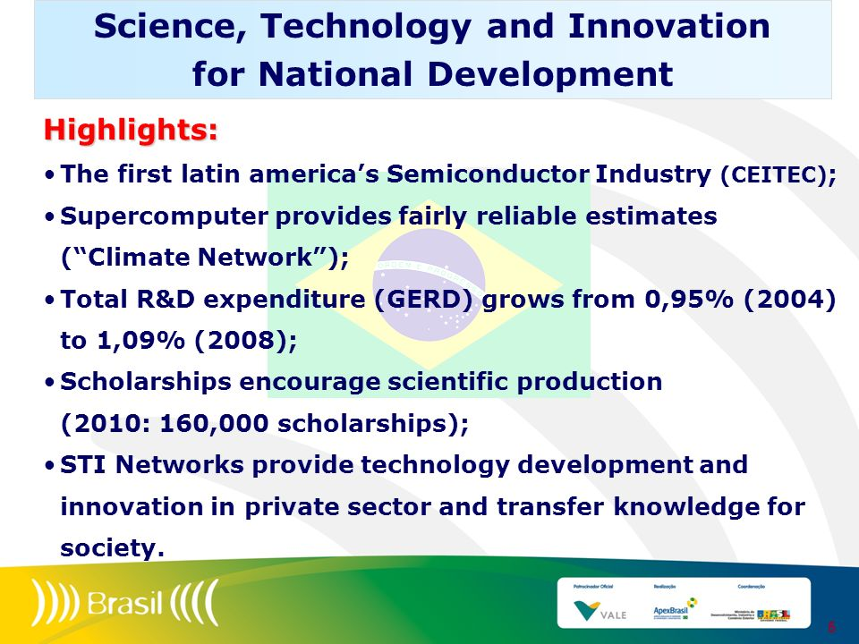 Highlights: The first latin americas Semiconductor Industry (CEITEC) ; Supercomputer provides fairly reliable estimates (Climate Network); Total R&D e