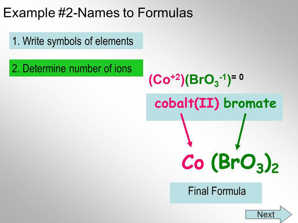 Example #2-Names to Formulas cobalt(II) bromate Co BrO 3 2. Determine number of ions 1. Write symbols of elements Final Formula (Co +2 )(BrO 3 -1 ) =