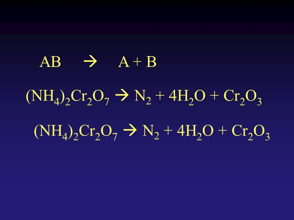 AB A + B (NH 4 ) 2 Cr 2 O 7 N 2 + 4H 2 O + Cr 2 O 3