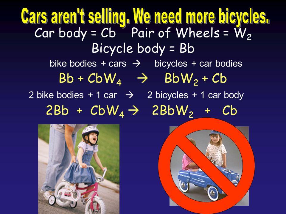 Car body = Cb Pair of Wheels = W 2 Bicycle body = Bb Bb + CbW 4 BbW 2 + Cb 2Bb + CbW 4 2BbW 2 + Cb 2 bike bodies + 1 car 2 bicycles + 1 car body bike