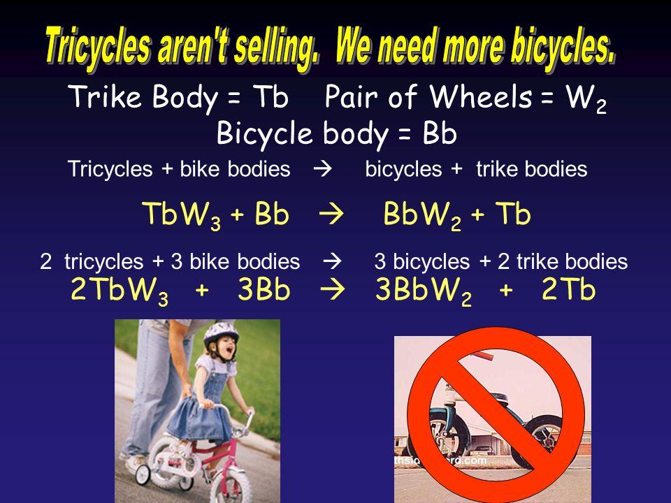 Trike Body = Tb Pair of Wheels = W 2 Bicycle body = Bb TbW 3 + Bb BbW 2 + Tb 2TbW 3 + 3Bb 3BbW 2 + 2Tb 2 tricycles + 3 bike bodies 3 bicycles + 2 trik