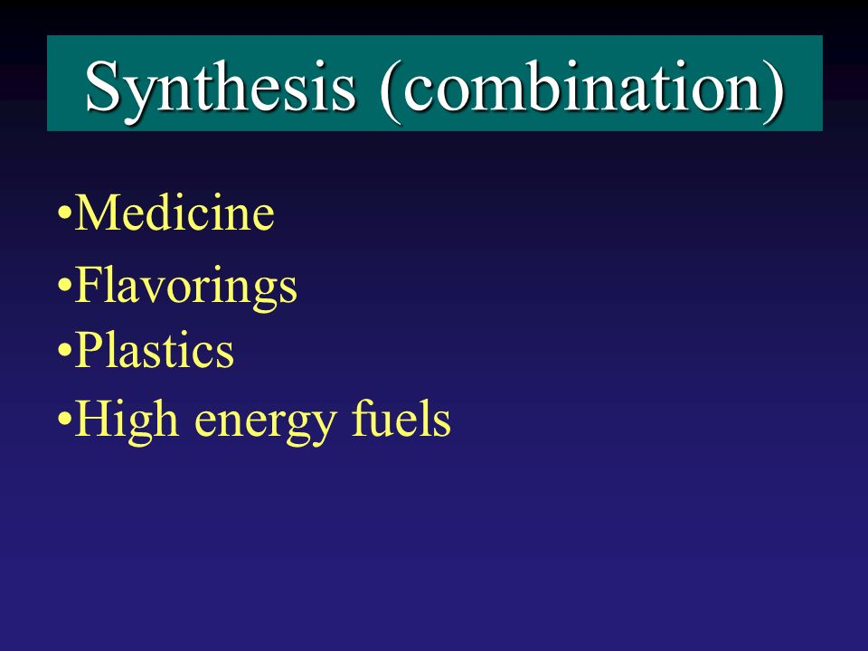 Synthesis (combination) Medicine Flavorings Plastics High energy fuels