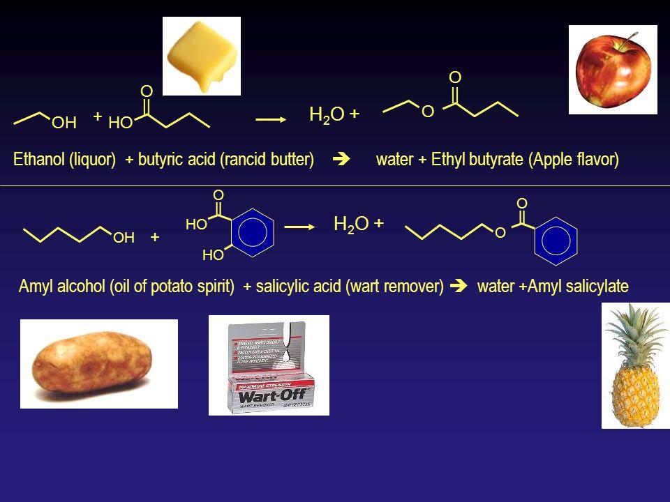 OH HO O    + Ethanol (liquor) + butyric acid (rancid butter) water + Ethyl butyrate (Apple flavor) OH O    HO Amyl alcohol (oil of potato spirit) + sa