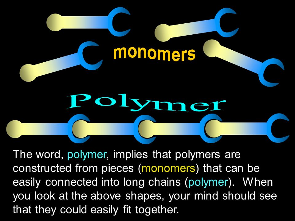The word, polymer, implies that polymers are constructed from pieces (monomers) that can be easily connected into long chains (polymer). When you look