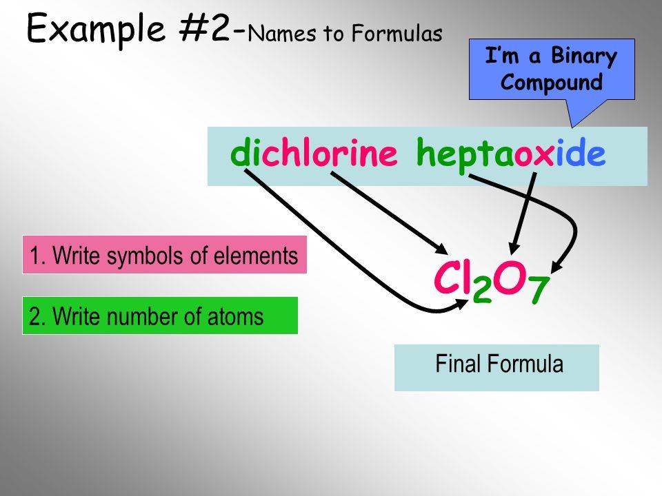 Example #2- Names to Formulas dichlorine heptaoxide Cl O 2 7 Im a Binary Compound 2. Write number of atoms 1. Write symbols of elements Final Formula