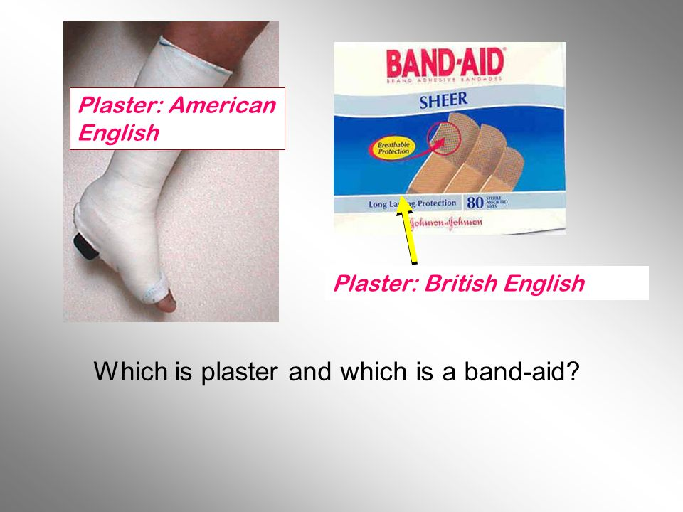Which is plaster and which is a band-aid? Plaster: American English Plaster: British English