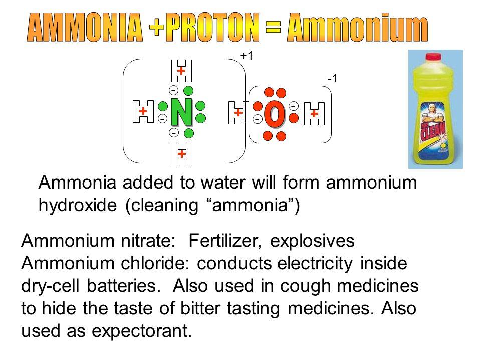 - - - - - Ammonia added to water will form ammonium hydroxide (cleaning ammonia) Ammonium nitrate: Fertilizer, explosives Ammonium chloride: conducts