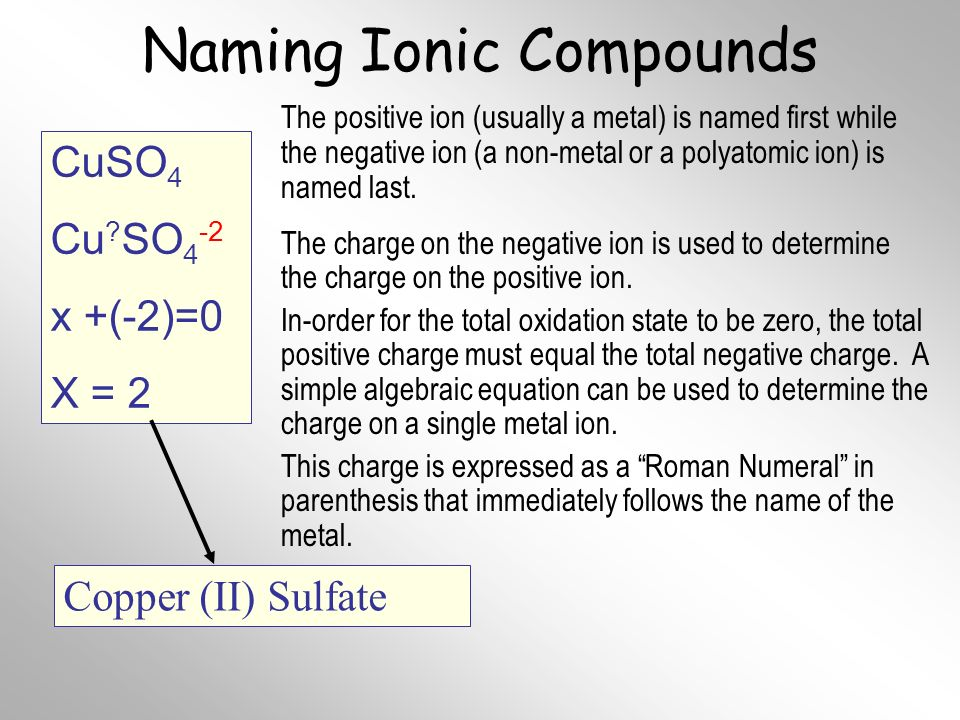 Naming Ionic Compounds The positive ion (usually a metal) is named first while the negative ion (a non-metal or a polyatomic ion) is named last.