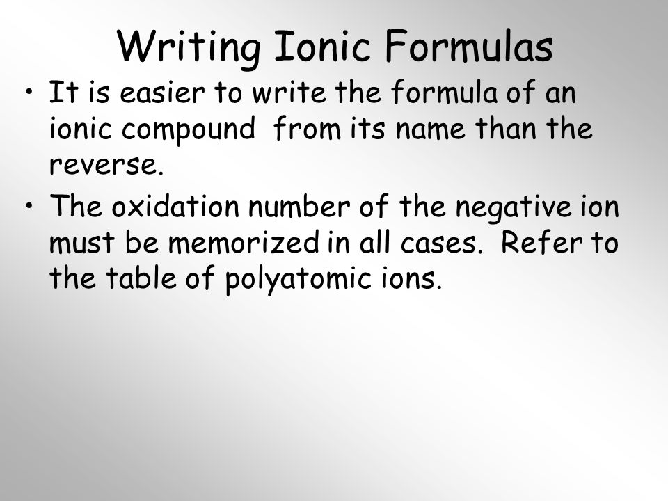 Writing Ionic Formulas It is easier to write the formula of an ionic compound from its name than the reverse.
