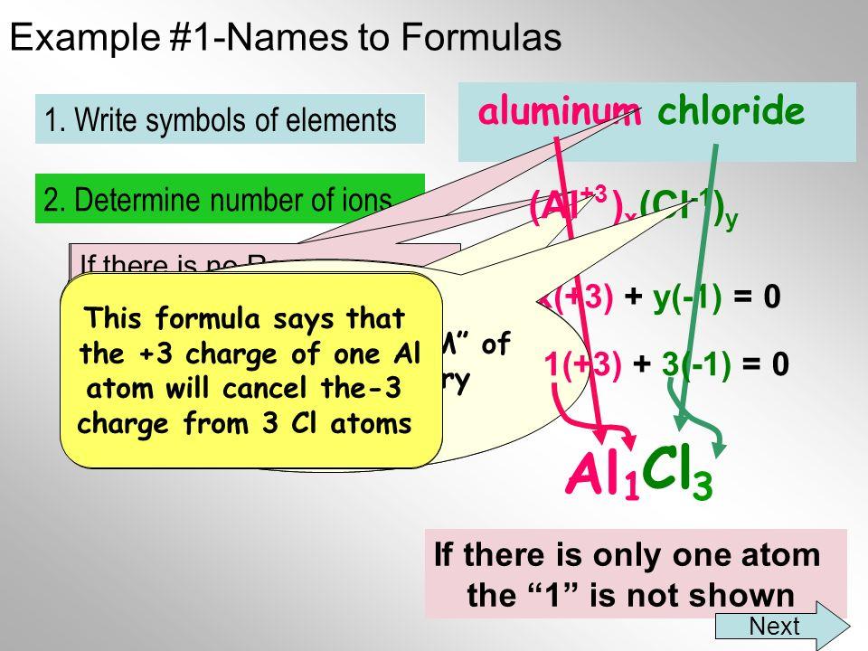 Example #1-Names to Formulas aluminum chloride Al Cl 3 2.