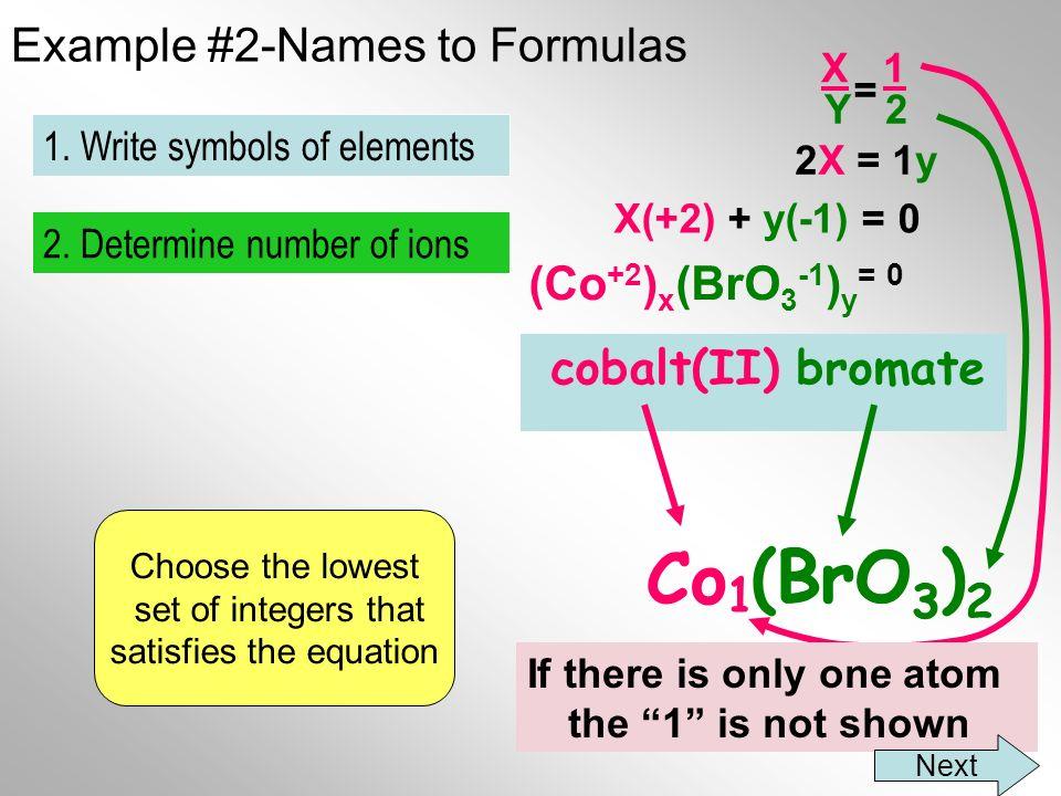 Example #2-Names to Formulas cobalt(II) bromate Co BrO 3 2.