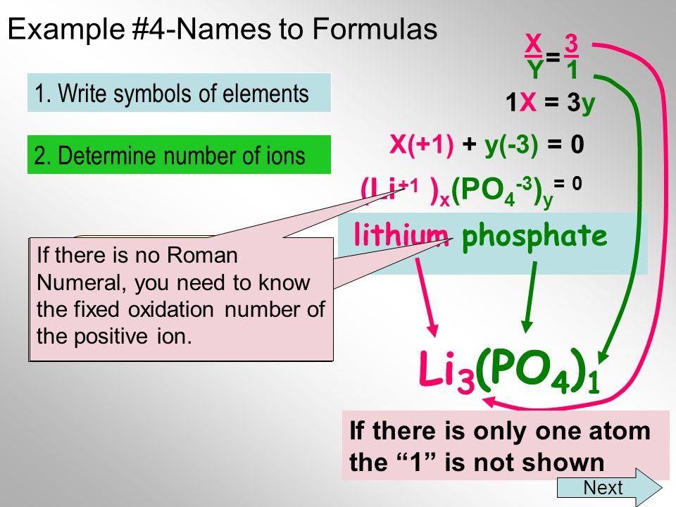 Example #4-Names to Formulas lithium phosphate Li PO 4 2.