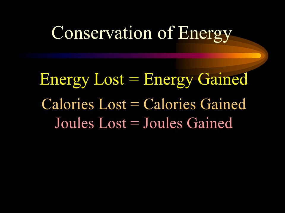 Conservation of Energy Energy Lost = Energy Gained Calories Lost = Calories Gained Joules Lost = Joules Gained