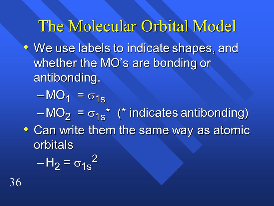 36 The Molecular Orbital Model We use labels to indicate shapes, and whether the MOs are bonding or antibonding. We use labels to indicate shapes, and