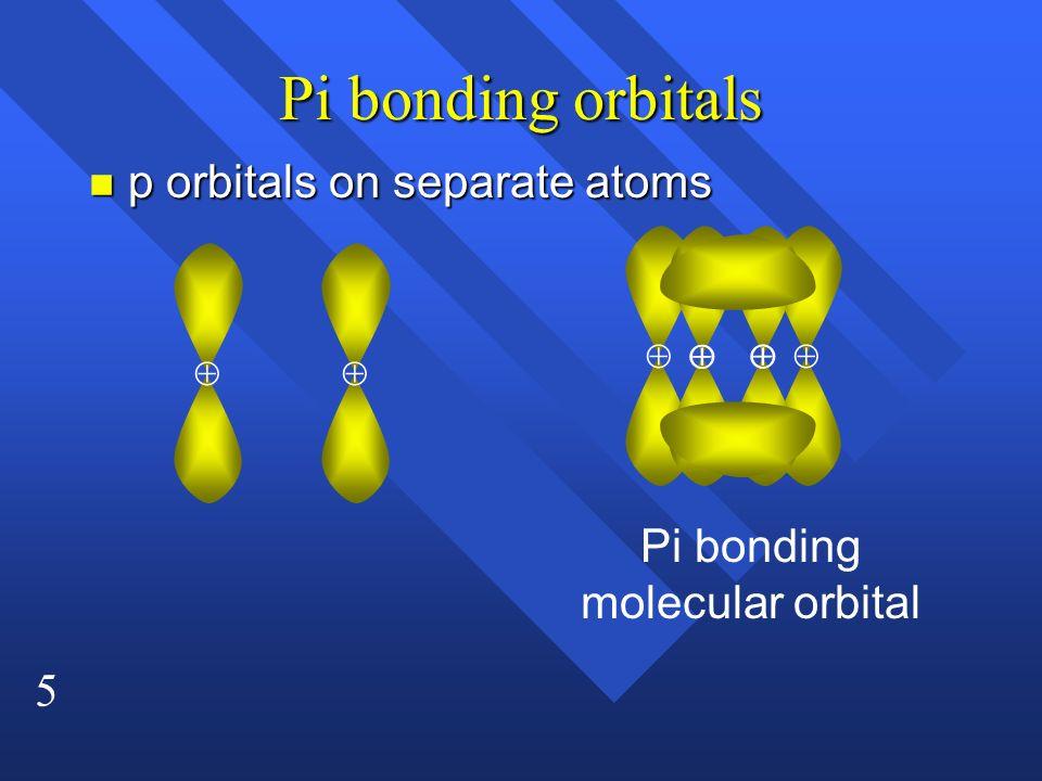 5 Pi bonding orbitals n p orbitals on separate atoms Pi bonding molecular orbital