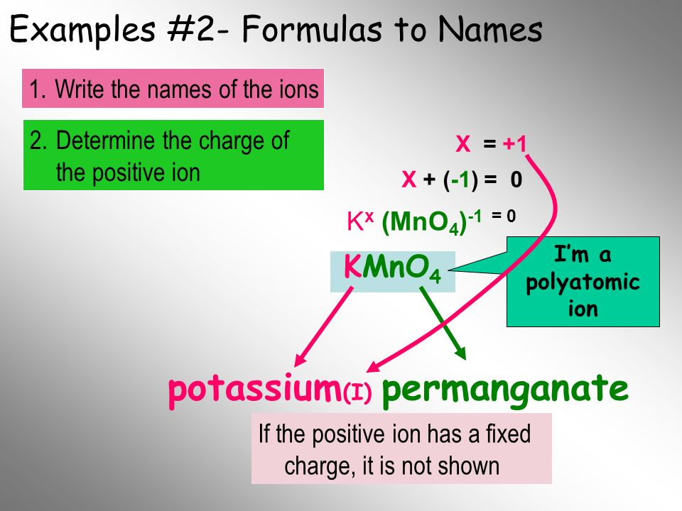Examples #2- Formulas to Names KMnO 4 potassium Im a polyatomic ion 2.Determine the charge of the positive ion 1.Write the names of the ions Final Nam