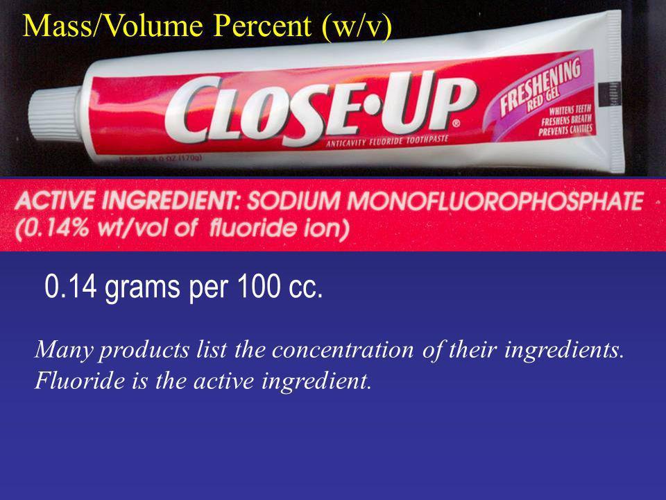 Mass/Volume Percent (w/v) 0.14 grams per 100 cc.