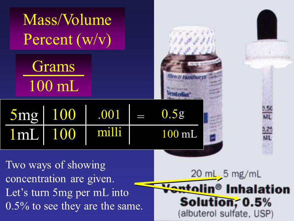 Mass/Volume Percent (w/v) Grams 100 mL 5mg 1mL 100.001 milli = g 100 mL 0.5 Two ways of showing concentration are given.
