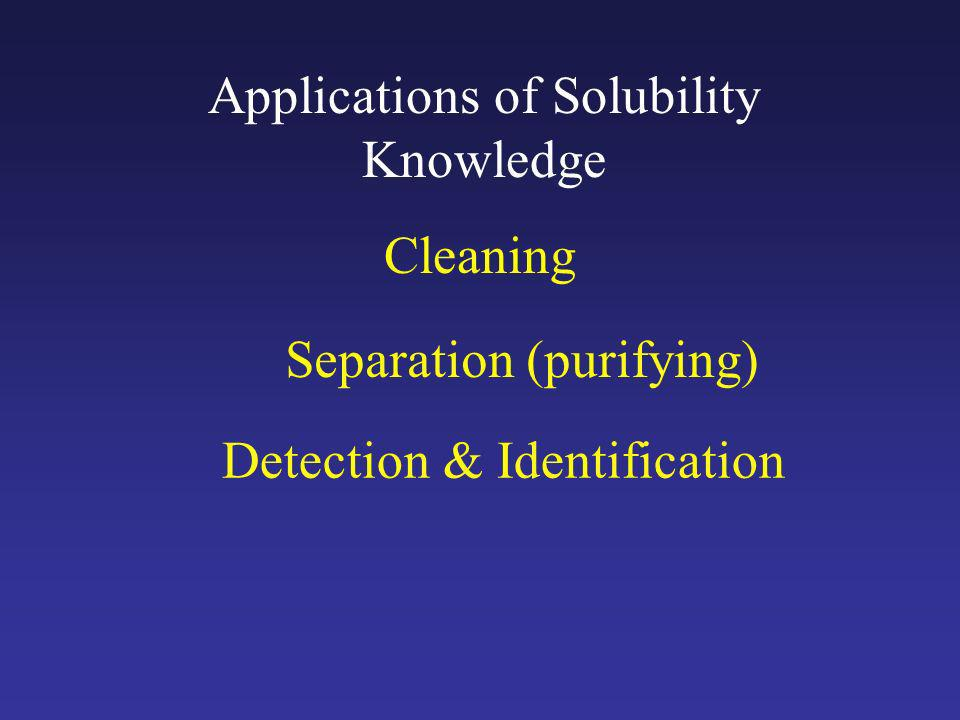 Applications of Solubility Knowledge Cleaning Separation (purifying) Detection & Identification