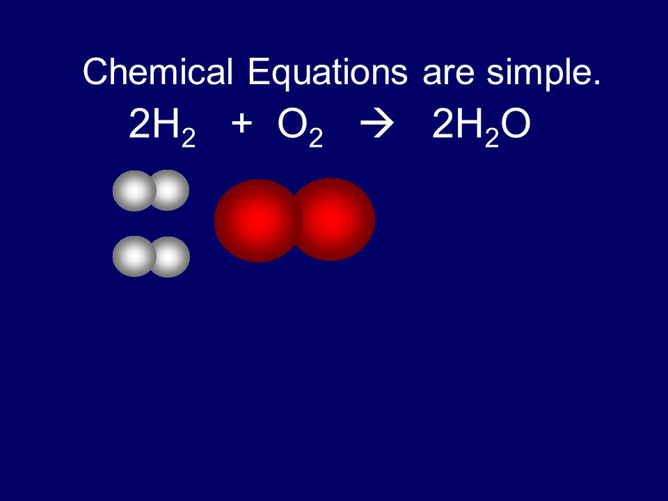 Chemical Equations are simple. 2H 2 + O 2 2H 2 O