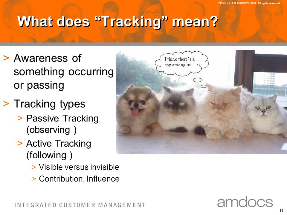 11 COPYRIGHT © AMDOCS 2004. All rights reserved. What does Tracking mean.