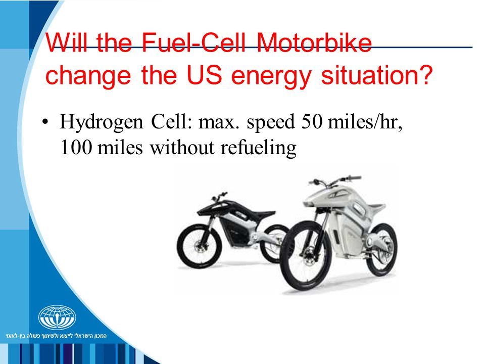 Will the Fuel-Cell Motorbike change the US energy situation? Hydrogen Cell: max. speed 50 miles/hr, 100 miles without refueling