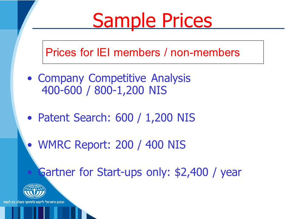Sample Prices Company Competitive Analysis / 800-1,200 NIS Patent Search: 600 / 1,200 NIS WMRC Report: 200 / 400 NIS Gartner for Start-ups only: $2,400 / year Prices for IEI members / non-members