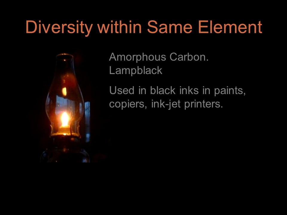 Amorphous Carbon. Lampblack Used in black inks in paints, copiers, ink-jet printers.