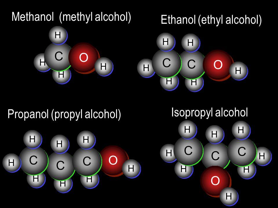 H H H H H H H H H H H H H H H H H H C C H H Methanol (methyl alcohol) O O H H H H C C H H C C H H O O H H Ethanol (ethyl alcohol) C C H H C C H H O O