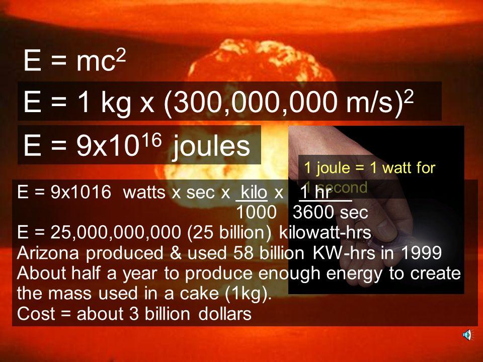 E = mc 2 E = 1 kg x (300,000,000 m/s) 2 E = 9x10 16 joules 1 joule = 1 watt for 1 second E = 9x1016 watts x sec x kilo x 1 hr 1000 3600 sec E = 25,000