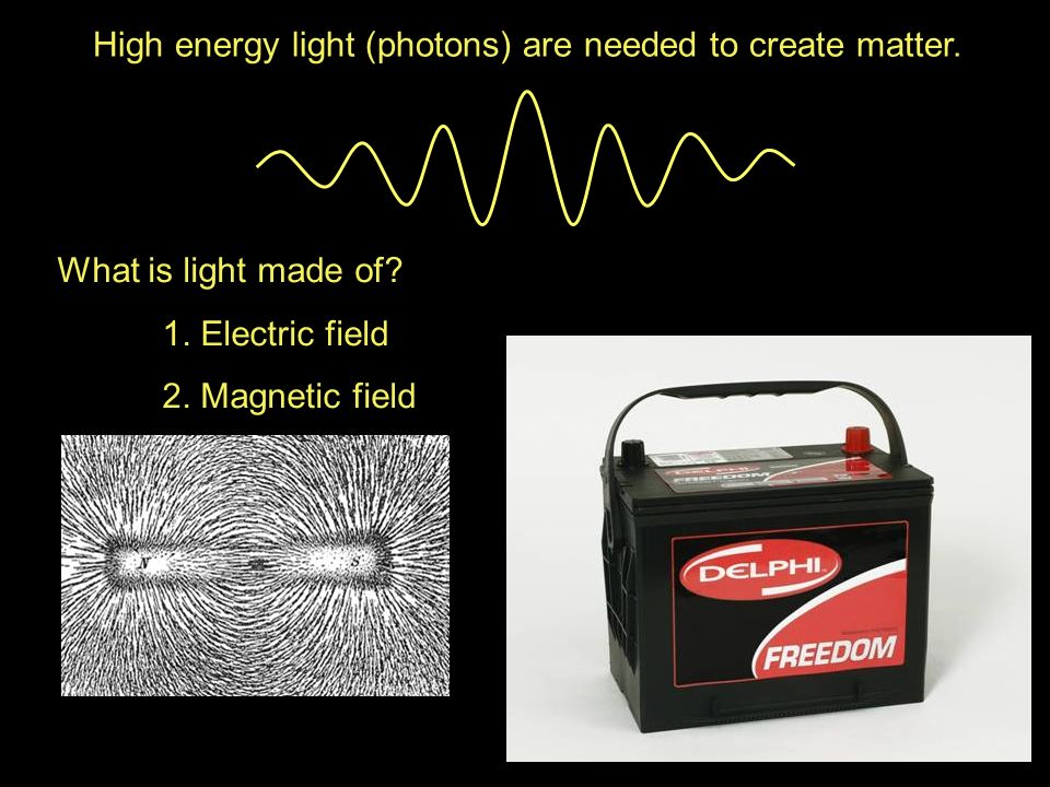 High energy light (photons) are needed to create matter. What is light made of? 1. Electric field 2. Magnetic field