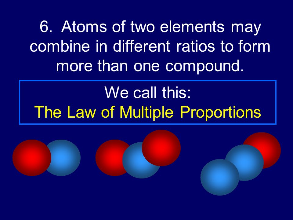 6. Atoms of two elements may combine in different ratios to form more than one compound. We call this: The Law of Multiple Proportions
