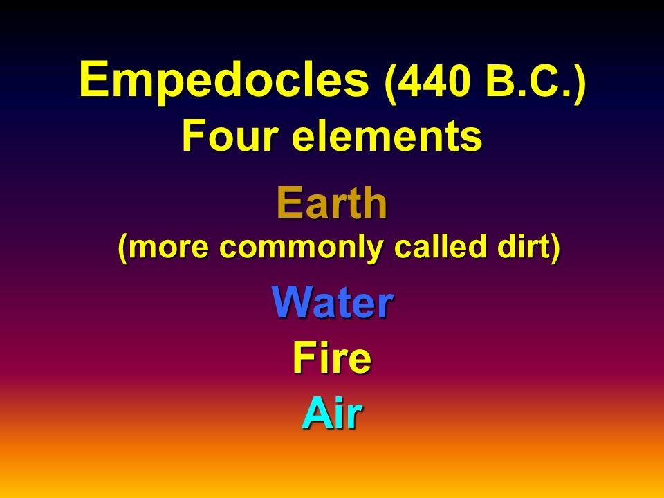 Empedocles (440 B.C.) Four elements Earth Water Air Fire (more commonly called dirt)