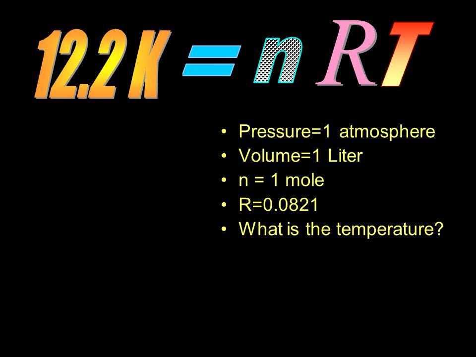 Pressure=1 atmosphere Volume=1 Liter n = 1 mole R=0.0821 What is the temperature?