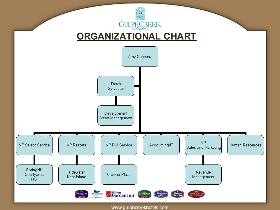 www.gulphcreekhotels.com ORGANIZATIONAL CHART Amy Gancasz VP Select Service SpringHIll Courtyards HGI VP Resorts Tidewater Kent Island VP Full Service Crowne Plaza Accounting/IT VP Sales and Marketing Revenue Management Human Resources Derek Sylvester Development Asset Management