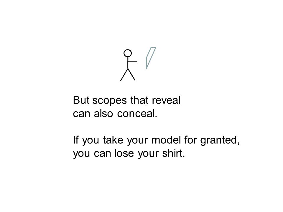 But scopes that reveal can also conceal. If you take your model for granted, you can lose your shirt.