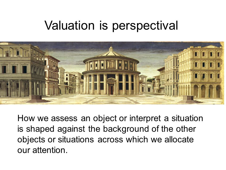 How we assess an object or interpret a situation is shaped against the background of the other objects or situations across which we allocate our atte