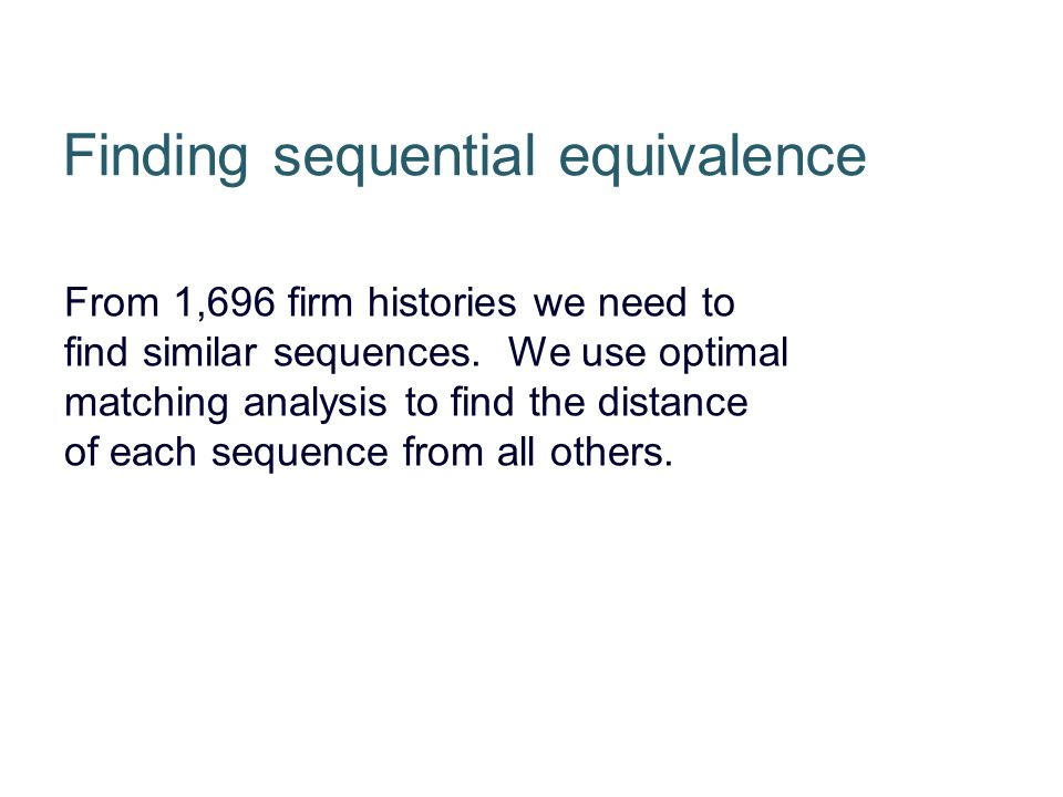 From 1,696 firm histories we need to find similar sequences.