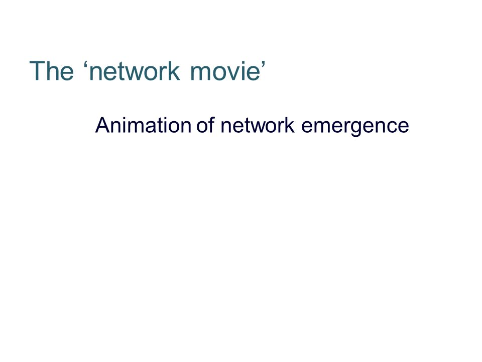 The network movie Animation of network emergence