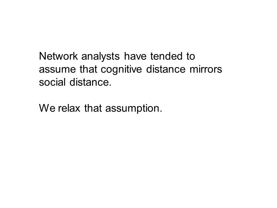 Network analysts have tended to assume that cognitive distance mirrors social distance. We relax that assumption.