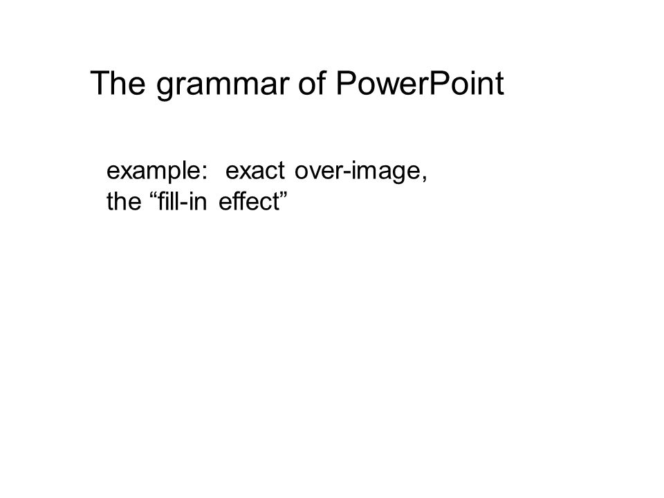 The grammar of PowerPoint example: exact over-image, the fill-in effect