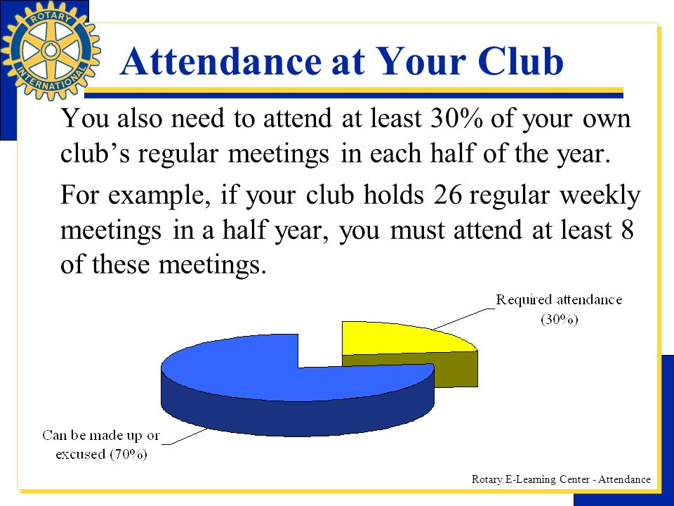 Rotary E-Learning Center - Attendance Attendance at Your Club You also need to attend at least 30% of your own clubs regular meetings in each half of the year.