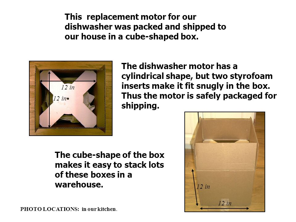 12 in The cube-shape of the box makes it easy to stack lots of these boxes in a warehouse. This replacement motor for our dishwasher was packed and sh