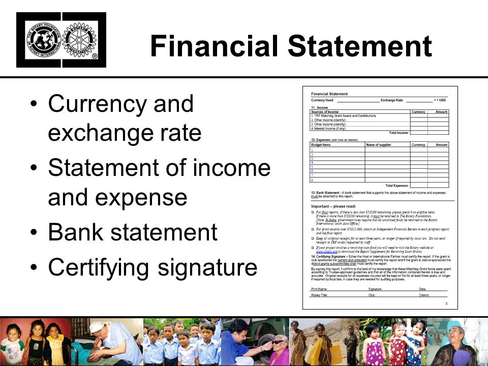 Financial Statement Currency and exchange rate Statement of income and expense Bank statement Certifying signature